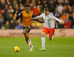 Dominic Iorfa of Wolves (left) competes with Lasse Vigen Christensen of Fulham - Football - Sky Bet Championship - Wolverhampton Wanderers vs Fulham - Season 2014/15 - 24th February 2015 - Photo Malcolm Couzens/Sportimage