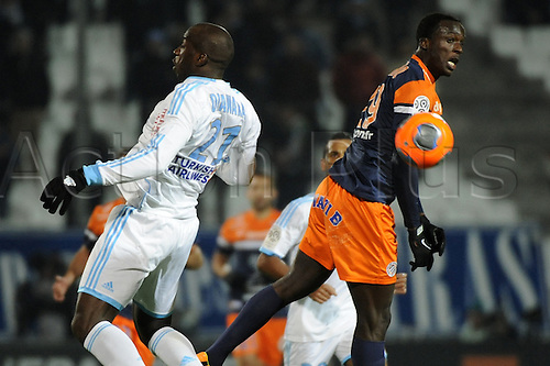 29.11.2013. Marseilles, France. French League 1 football. Marseilles versus Montpellier.  Diawara (OM) - Montano Caicedo (MHSC)