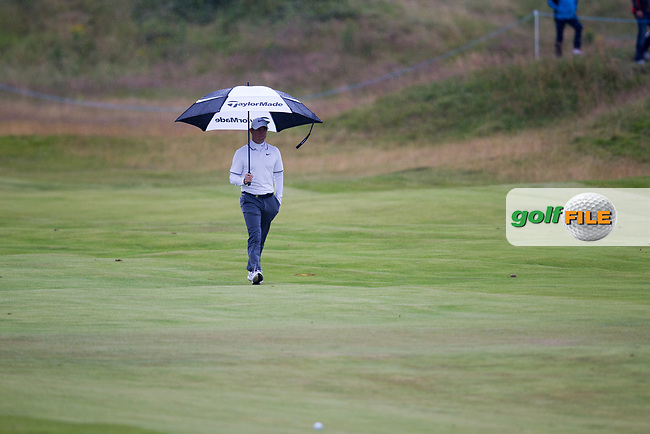Rory McIlroy (NIR) on the 18th during round 2 of the Aberdeen Asset Management Scottish Open 2017, Dundonald Links, Troon, Ayrshire, Scotland. 14/07/2017.<br /> Picture Fran Caffrey / Golffile.ie<br /> <br /> All photo usage must carry mandatory copyright credit (&copy; Golffile | Fran Caffrey)