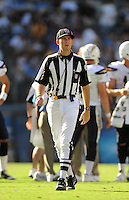 Sep. 20, 2009; San Diego, CA, USA; NFL referee (56) Allen Baynes during the game between the San Diego Chargers against the Baltimore Ravens at Qualcomm Stadium in San Diego. Baltimore defeated San Diego 31-26. Mandatory Credit: Mark J. Rebilas-