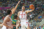 07.09.2014. Barcelona, Spain. 2014 FIBA Basketball World Cup, round of 16. Picture show S. Güler in action during game between Turkey   v Australia at Palau St. Jordi