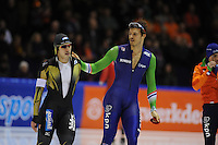 SCHAATSEN: HEERENVEEN: IJsstadion Thialf, 07-02-15, World Cup, 500m Men Division A, Ryohei Haga (JPN), Hein Otterspeer (NED), ©foto Martin de Jong