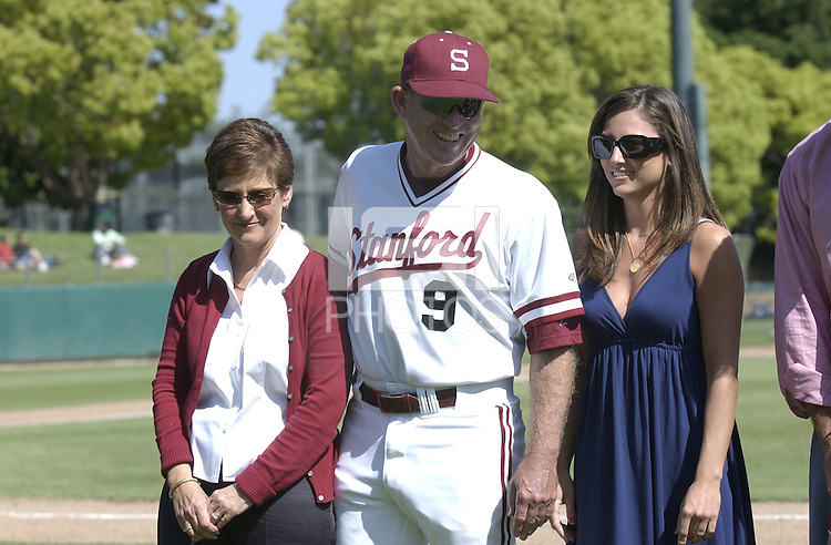 6 May 2006: Mark Marquess and his family during Stanford's 5-1 loss against California Golden Bears at Sunken Diamond in Stanford, CA. Stanford Baseball announced its All-Time Starting 9 during a pre-game ceremony. The nine players selected for the team, chosen by the fans, represent the best of the first 30 years of the  distinguished career of Stanford head coach Mark Marquess.