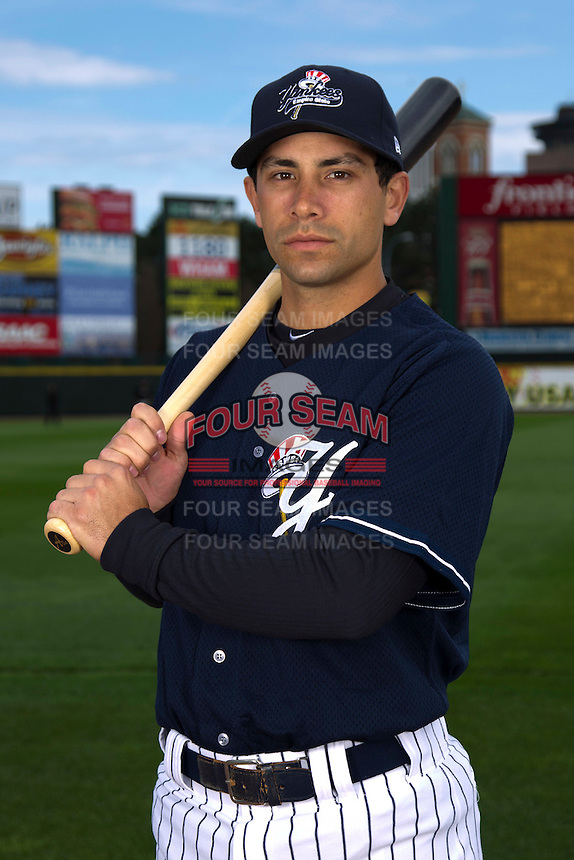 Scranton Wilkes-Barre Yankees infielder Kevin Russo #7 poses for a photo during media day at Frontier Field on April 3, 2012 in Rochester, New York.  (Mike Janes/Four Seam Images)
