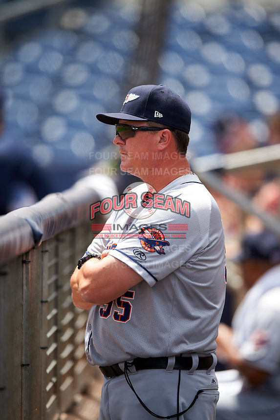 Lakeland Flying Tigers pitching coach Mark Johnson (55) in the dugout during a game against the Charlotte Stone Crabs on April 16, 2017 at Charlotte Sports Park in Port Charlotte, Florida.  Lakeland defeated Charlotte 4-2.  (Mike Janes/Four Seam Images)
