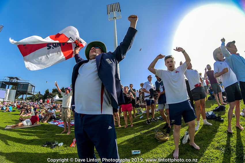 The Barmy Army celebrate the wicket of Ross Taylor during day two of the international cricket 1st test match between NZ Black Caps and England at Bay Oval in Mount Maunganui, New Zealand on Friday, 22 November 2019. Photo: Dave Lintott / lintottphoto.co.nz