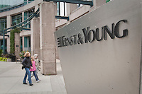 Ernst & Young logo is seen is Ottawa Sunday September 26, 2010. Ernst & Young (EY) is one of the largest professional services firms in the world and one of the Big Four auditors, along with Deloitte, KPMG and PricewaterhouseCoopers (PwC).