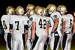 Torrance, CA 09/10/10 - Robert Castelao (Peninsula #10), Brock Dale (Peninsula #7), Haden Gregory (Peninsula #42), Mickey O'crowley (Peninsula #53) and Matt Hezlep (Peninsula #6)  in action during the Peninsula Panthers-North Saxons Varsity football game at North Torrance High School.