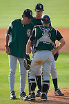 Augusta Green Jackets pitching coach Ross Grimsley has a chat with pitcher Ryan Shaver and catcher Nick Conte at Fieldcrest Cannon Stadium in Kannapolis, NC, Sunday, June 18, 2006.