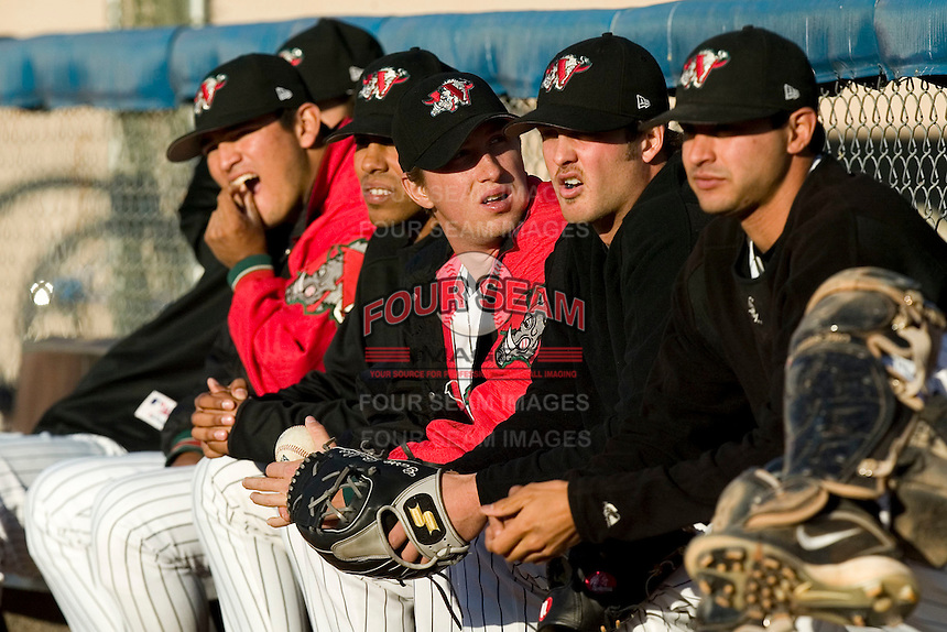 The Winston-Salem Warthogs bullpen waits to be called upon versus the Frederick Keys at Ernie Shore Field in Winston-Salem, NC, Sunday, May 6, 2007
