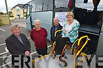 Pictured at the launch of the Kerry Cancer Support group bus at their centre in Kerry Lee, Oakpark, Tralee on Wednesday which will bring Kerry cancer patients to Cork for treatment, from left are Tim Corkery Mort Galvin Treasurers, John O'Shea and Marie McNamara Irish cancer Society supervisor demonstrating the buses wheelchair ramp.