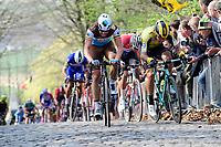 Oliver Naesen (BEL/AG2R-La Mondiale) & Danny Van Poppel (NED/Jumbo-Visma) coming over the Kemmelberg (2nd ascent)<br /> <br /> <br /> 81st Gent-Wevelgem 'in Flanders Fields' 2019<br /> One day race (1.UWT) from Deinze to Wevelgem (BEL/251km)<br /> <br /> ©kramon