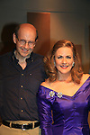 """Associate Writer As The World Turns Hal Corley (also AMC) poses with Colleen Zenk - As The World Turns - star in Looped - about Tallulah Bankhead - original premiere - at Stageworks/Hudson Theater Outside The Box on July 14, 2013 running until July 28 -  """"All he needed was one line . . . All Tallulah needed was eight hours . . .""""  (Photo by Sue Coflin/Max Photos)"""
