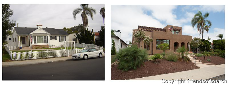 Armstrong Residence--before and after remodel. Transitioned from a lovely 1940's era one-story cottage into a two-story contemporary home. Laurie Fisher, architect.