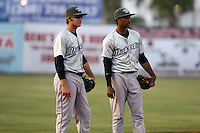 April 16, 2009:  Third baseman Kevin Ahrens and Shortstop Justin Jackson of the Dunedin Blue Jays, Florida State League Class-A affiliate of the Toronto Blue Jays, during a game at Jackie Robinson Stadium in Daytona Beach, FL.  Photo by:  Mike Janes/Four Seam Images