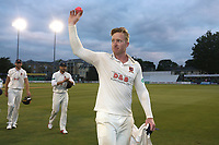 Simon Harmer of Essex raises the ball to the crowd having taken 9 wickets in the second innings to win the match during Essex CCC vs Middlesex CCC, Specsavers County Championship Division 1 Cricket at The Cloudfm County Ground on 29th June 2017