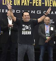 DALLAS, TX - MARCH 15: Roberto Duran at the weigh-in for the Fox Sports PBC Pay-Per-View World Welterweight Championship fight at AT&T Stadium on March 15, 2019 in Dallas, Texas. The fight is on March 16 at 9PM ET/6PM PT. (Photo by Frank Micelotta/Fox Sports/PictureGroup)