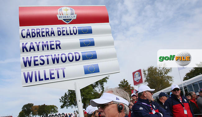 Walking scoreboard during Tuesday's Practice Round ahead of The 2016 Ryder Cup, at Hazeltine National Golf Club, Minnesota, USA.  27/09/2016. Picture: David Lloyd | Golffile.