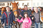 HORSES: James Kelleher, Denis O'Brien, Shauna O'Brien and Tim Kelleher, all Caragh Lake, at the horse fair in Killorglin on Saturday.   Copyright Kerry's Eye 2008