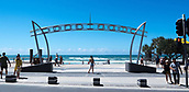 16th March 2018, Surfers Paradise, Gold Coast, Queensland, Australia;  Surfers Paradise prepare for the Commonwealth Games 2018;  The Surfers Paradise Arches on the boardwalk