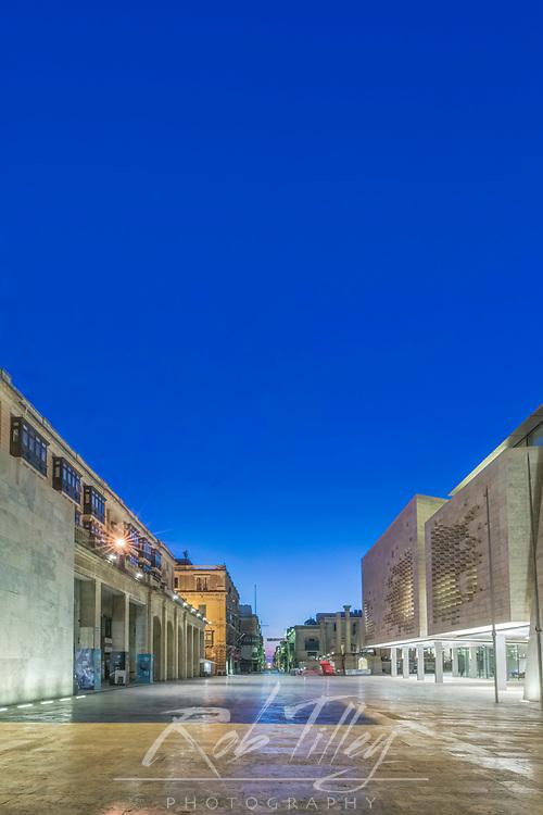 Europe, Malta, Valletta, Malta Parliament Building at Dawn