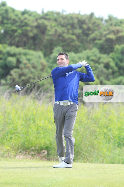 Gary O'Flaherty (Cork) on the 8th tee during Round 4 of the Irish Amateur Close Championship at Seapoint Golf Club on Monday 9th June 2014.<br /> Picture:  Thos Caffrey / www.golffile.ie