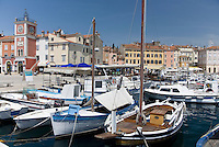 The seaside town of Rovinj on the Istrian peninsula of Croatia provides a picturesque boat filled harbor