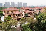 Houses in a luxury residential area in Hu Jing Lu, Chancheng Qu, Huanhu Garden, Foshan city, Guangdong, China. 2016