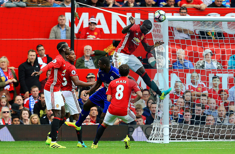 Eric Bailly of Manchester United wins a header during the Premier League match at Old Trafford Stadium, Manchester. Picture date: September 24th, 2016. Pic Sportimage