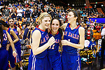 Mar 11, 2015; Portland, OR, USA;  La Salle Prep's Ally Jansen and Aleah and Tori Goodman celebrate a 51-46 win over Hermiston Bulldogs in the 5A Girls Basketball State Championship at Gill Coliseum.<br /> Photo by Jaime Valdez