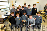 Togor Silong, captain of CBS the Green, holding aloft the Brother Colm Taft Cup, surrounded by his team mates and Mark O'Shea (Manager) at the school on Wednesday.<br /> Back l to r: Jason Casey, Ger Brosnan, Rory Reen, Adam McDonagh, Stefan Carrag, Sean Whelan, Sean McElligott, Ronan Kelly, Sean Moynihan and Donnagh Murphy.