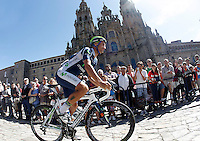 Juan Jose Cobo passes by the front of the Obradoiro of the Cathedral of Santiago de Compostela before the stage of La Vuelta 2012 between Santiago de Compostela and Ferrol.August 31,2012. (ALTERPHOTOS/Acero)
