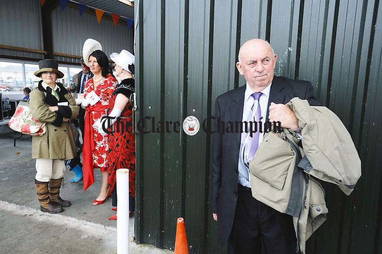 Michael Corry of Ballyblood, Tulla, awaits the Best Dressed Person competition starting at the Clare County Show in Ennis. Photograph by John Kelly.