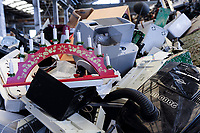 GERMANY, Hamburg, recycling of electronical scrap and old consumer goods at company TCMG, the trash is collected by the urban waste disposal system and than processed and separated here after metals like copper and plastics for further recycling and reuse, by law is not allowed to export e-scrap to africa and other countries, computer keyboards and electric Advent candle