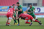 Connacht's Danie Poolman is tackled by Scarlets' Ken Owens and Peter Edwards<br /> <br /> Rugby - Scarlets V Connacht - Guinness Pro12 - Sunday 15th Febuary 2015 - Parc-y-Scarlets - Llanelli<br /> <br /> &copy; www.sportingwales.com- PLEASE CREDIT IAN COOK