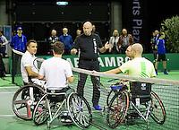 Februari 12, 2015, Netherlands, Rotterdam, Ahoy, ABN AMRO World Tennis Tournament, Stephane Houdet (FRA)  - Frederic Cattaneo (FRA)<br /> Photo: Tennisimages/Henk Koster
