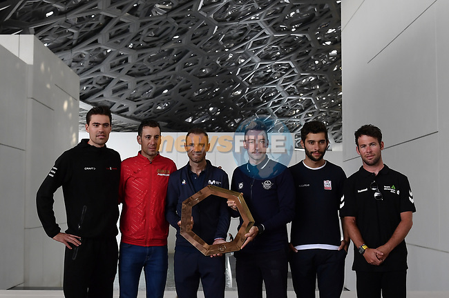 The 2019 UAE Tour, Tom Dumoulin (NED) Team Sunweb, Vincenzo Nibali (ITA) Bahrain Merida, World Champion Alejandro Valverde (ESP) Movistar Team, Elia Viviani (ITA) Deceuninck-Quick Step, Fernando Gaviria (COL) UAE Team Emirates and Mark Cavendish (GBR) Team Dimension Data spoke to the media this afternoon in Louvre Abu Dhabi, United Arab Emirates. 23rd February 2019.<br />