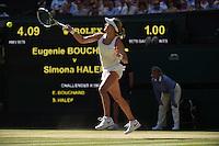 Wimbledon, 3/07/2014<br /> <br /> BOUCHARD,Eugenie (CAN) defeated HALEP,Simona (ROU)  7/6 (5) 6-2<br /> <br /> <br /> © Ray Giubilo/ Tennis Photo Network
