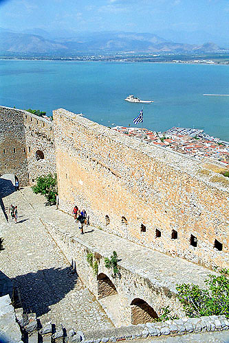 Palamidi fortress castle citadel and Aegean sea in Nafplion on the Peloponnese Greece Europe