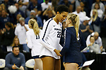 KANSAS CITY, KS - DECEMBER 14: Simone Lee #22 and Kendall White #3 of Penn State University talk while taking on the University of Nebraska during the Division I Women's Volleyball Semifinals held at Sprint Center on December 14, 2017 in Kansas City, Missouri. (Photo by Tim Nwachukwu/NCAA Photos via Getty Images)