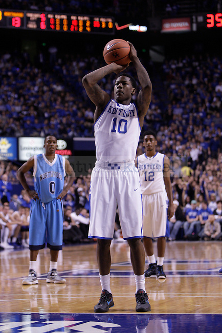 Freshman Guard Archie Goodwin shoots a free-throw during the first half of the University of Kentucky vs. Northwood Basketball exhibition game at Rupp Arean in Lexington, Ky., on, {November} {1}, {2012}. Photo by Jared Glover | Staff