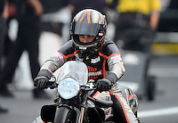 Jun. 1, 2012; Englishtown, NJ, USA: NHRA pro stock motorcycle rider Eddie Krawiec during qualifying for the Supernationals at Raceway Park. Mandatory Credit: Mark J. Rebilas-