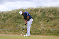 Lee Westwood (ENG) putts on the 1st green during Saturday's Round 3 of the 2018 Dubai Duty Free Irish Open, held at Ballyliffin Golf Club, Ireland. 7th July 2018.<br /> Picture: Eoin Clarke | Golffile<br /> <br /> <br /> All photos usage must carry mandatory copyright credit (&copy; Golffile | Eoin Clarke)