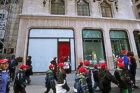 The vacant Elizabeth Arden Red Door Spa space at 691 Fifth Avenue in New York is seen on Thursday, February 23, 2012.  Media reports say that MAC cosmetics has signed a lease for the 1400 square foot space paying the highest retail rent in New York, although the amount is undisclosed. MAC was previously located in Henri Bendel across the street and Arden moved further down Fifth Avenue. (© Richard B. Levine)
