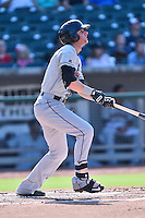 Birmingham Barons designated hitter Danny Hayes (9) swings at a pitch during a game against the Tennessee Smokies on August 2, 2015 in Kodak, Tennessee. The Smokies defeated the Barons 5-2. (Tony Farlow/Four Seam Images)