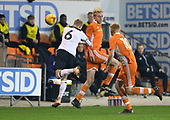 04/12/2018 FA Youth Cup 3rd Round Blackpool v Derby County<br /> <br /> Ewan Bange duels with Andy Kanga