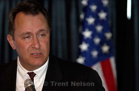 Utah AG Mark Shurtleff speaks at Law Day 2005 at Salt Lake City's Wells Fargo Building.<br />