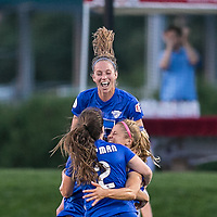Allston, Massachusetts - August 4, 2017:  In a National Women's Soccer League (NWSL) match, Boston Breakers (blue) tied FC Kansas City (white), 2-2, at Jordan Field.<br />
