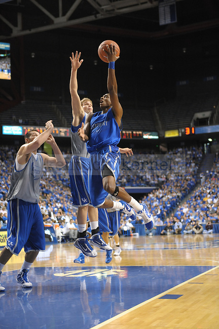 Freshman Brandon Knight lays up the ball during the UK mens basketball Blue/White scrimmage. Photo by Mike Weaver | Staff