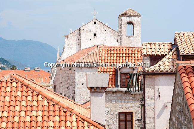 Rooftops in Dubrovnik, Croatia with the Cathedral in the background.